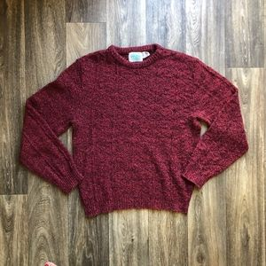 Vintage 90's Mens Thick Knit Wool Sweater, Large
